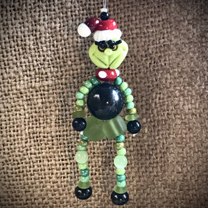 Shungite Grinch Ornament, EMF Protective Holiday Decor, Christmas