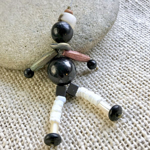 Shungite Figure With African Kufi Cap, EMF Accessory, Dangle