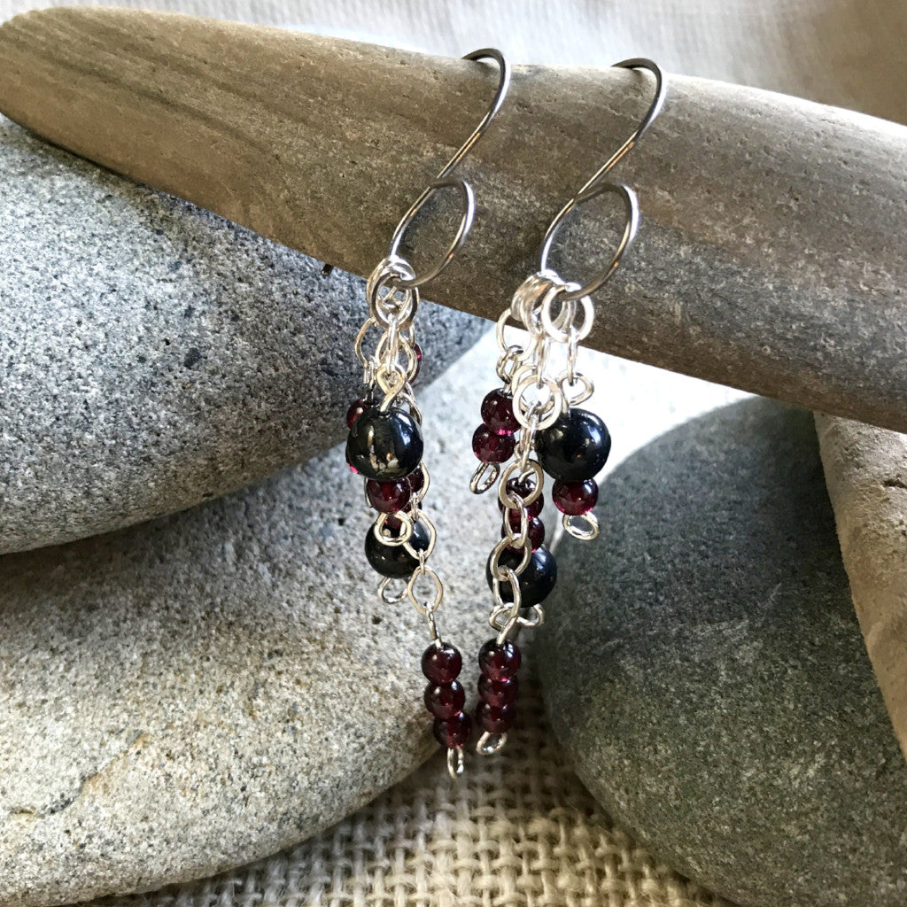 Garnet & Shungite Jingle Earrings, EMF Protection for the Holidays