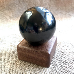 Shungite Sphere, 1 and 7/8 Inches, EMF Blocker, Custom Wood Stand