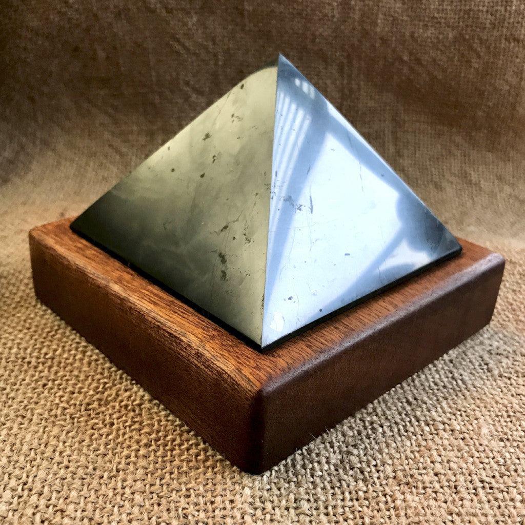Shungite Pyramid, 3 and 3/8 Inch Base, EMF Protection, Wood Stand