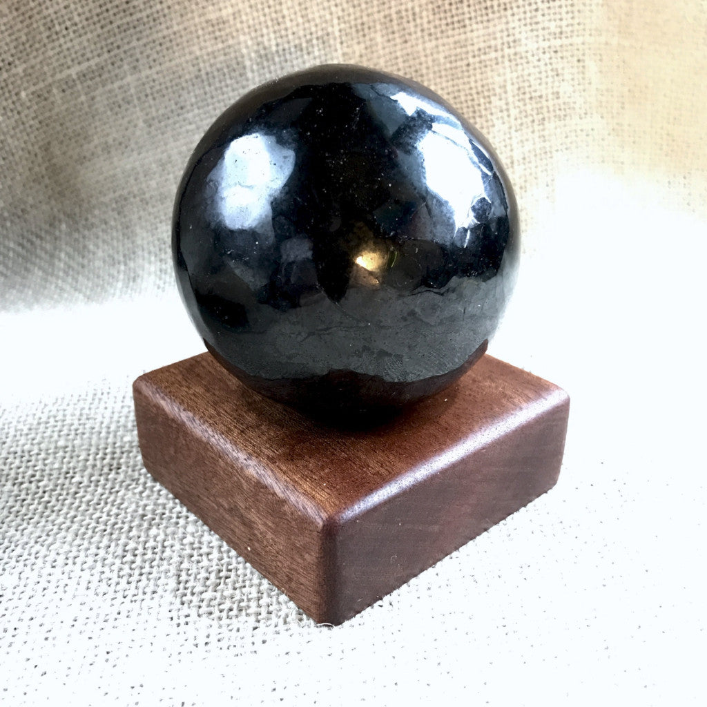 Shungite Sphere, 75mm, 3 Inch, Custom Wood Stand, EMF Protection - Shungite Queen