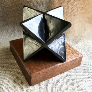 Shungite Merkaba, 75mm, EMF Protection, Hand Carved, With Custom Wood Stand - Shungite Queen