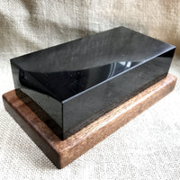 EMF, Shungite Brick, Russian Shungite, EMF Protection, Heavy Wood Base