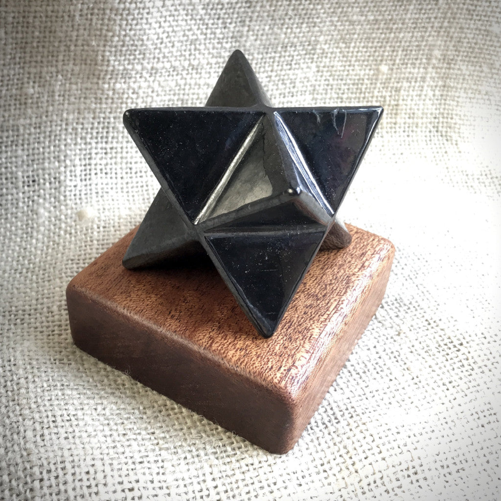 Shungite Merkaba, 50mm, EMF Protection, Hand Carved, With Custom Wood Stand - Shungite Queen