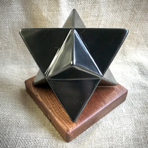 Shungite Merkaba, 100mm, EMF Protection, Hand Carved, Genuine Shungite