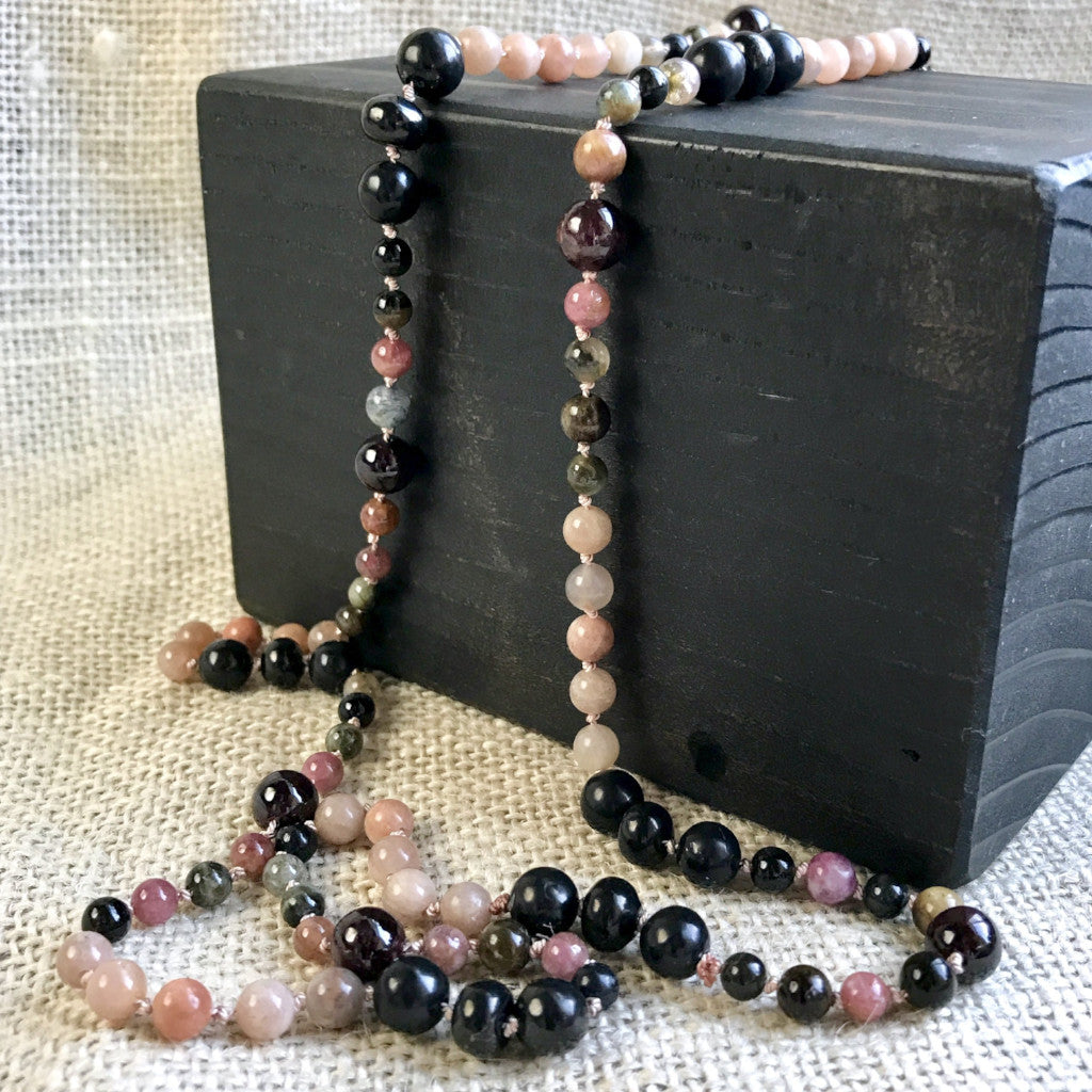 Shungite, Tourmaline, Peach Moonstone Necklace, Hand-Knotted Silk