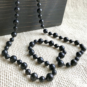 Black Shungite Beaded Necklace on Hand-Knotted Silk, EMF Protection