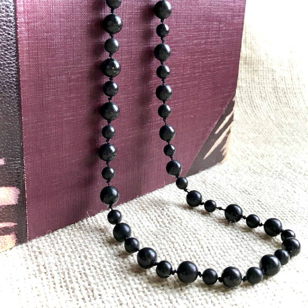 "Black Shungite Beaded Necklace on Hand-Knotted Silk, EMF, 32"" - Shungite Queen"