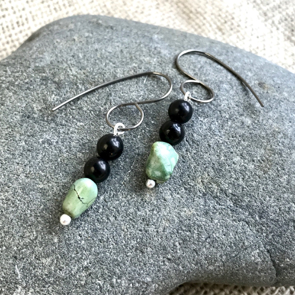 Shungite & Turquoise Nugget Earrings, EMF Protection, Titanium Ear Wires