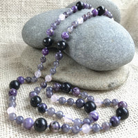 Shungite, Iolite, Charoite, & Rose Quartz, Long Necklace on Hand-Knotted Silk