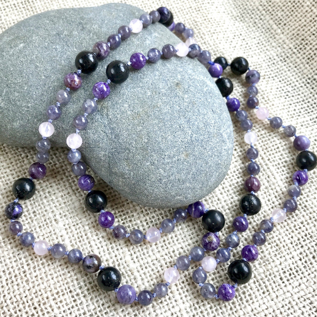 Shungite, Iolite, Charoite, & Rose Quartz Necklace on Hand-Knotted Silk