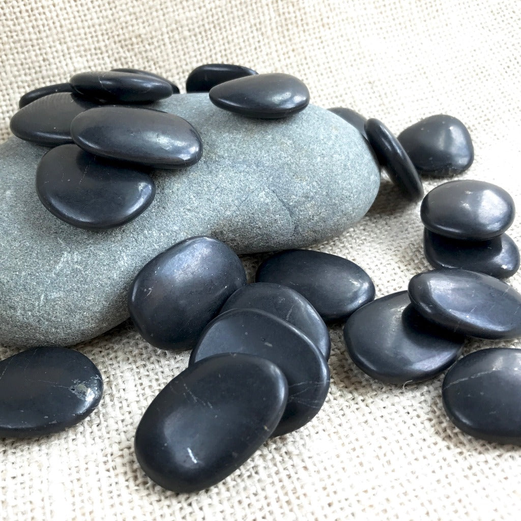 Smooth Polished Shungite Pocket Stone, Carry Stone, EMF Protection - Shungite Queen