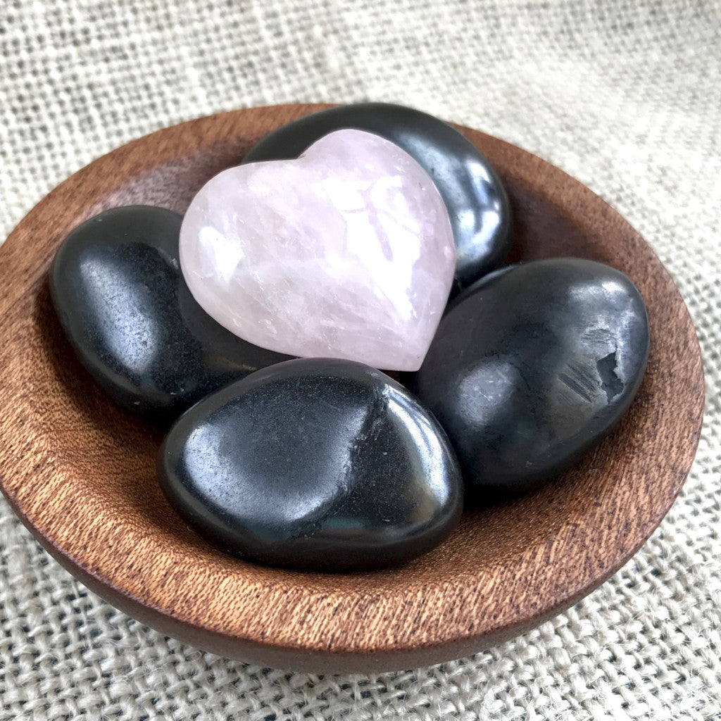Tumbled Shungite Stones w/Sweet Rose Quartz Heart In Wood Bowl, EMF