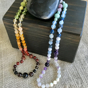Gemstone Chakra Necklace w/Shungite on Hand-Knotted Silk - Shungite Queen