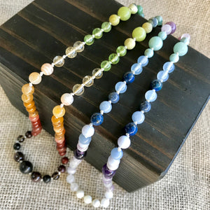 Gemstone Chakra Necklace w/Shungite on Hand-Knotted Silk, Long