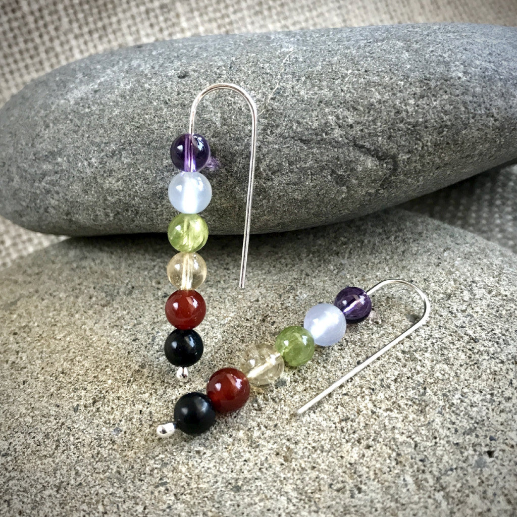 Chakra Earrings w/Shungite, on Argentium Silver, Threader Style