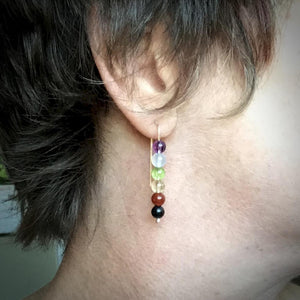 Chakra Earrings w/Shungite, on Argentium Silver, Threader Style - Shungite Queen