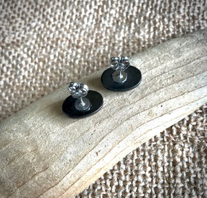 Shungite Post Earrings w/Black Cabochons & Pure Titanium Posts