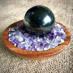 Shungite Sphere Tumbled Amethyst in Custom Wood Bowl, EMF Protection