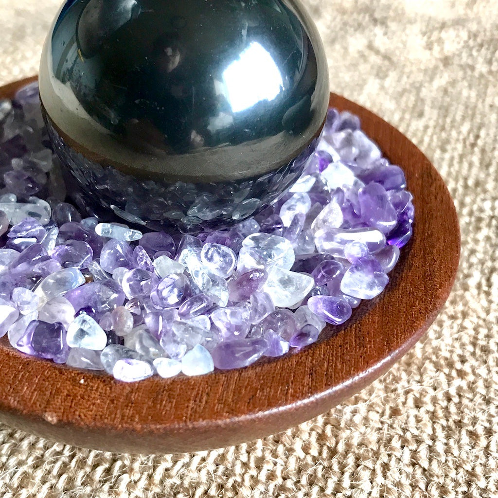 Shungite Sphere on Bed of Tumbled Amethyst in Custom Wood Bowl, EMF