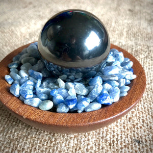 Shungite Sphere on Bed of Tumbled Blue Aventurine in Custom Wood Bowl, EMF Protection