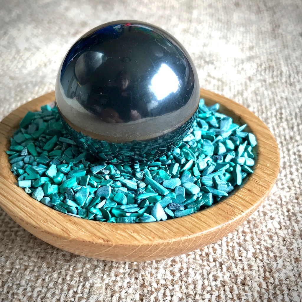Shungite Sphere on Bed of Tumbled Malachite in Custom Wood Bowl, EMF Protection