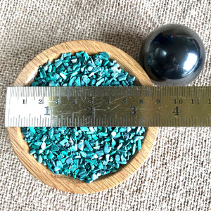Shungite Sphere on Bed of Tumbled Malachite in Custom Wood Bowl, EMF