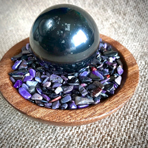 Shungite Sphere on Micro Tumbled Sugilite in Custom Wood Bowl