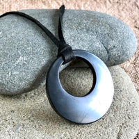 Shungite Pendant, Eclipse, EMF Protection, Circles, EMF Protection, Lightweight