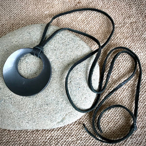 Shungite Pendant, Necklace, Eclipse, Circles, EMF, Lightweight