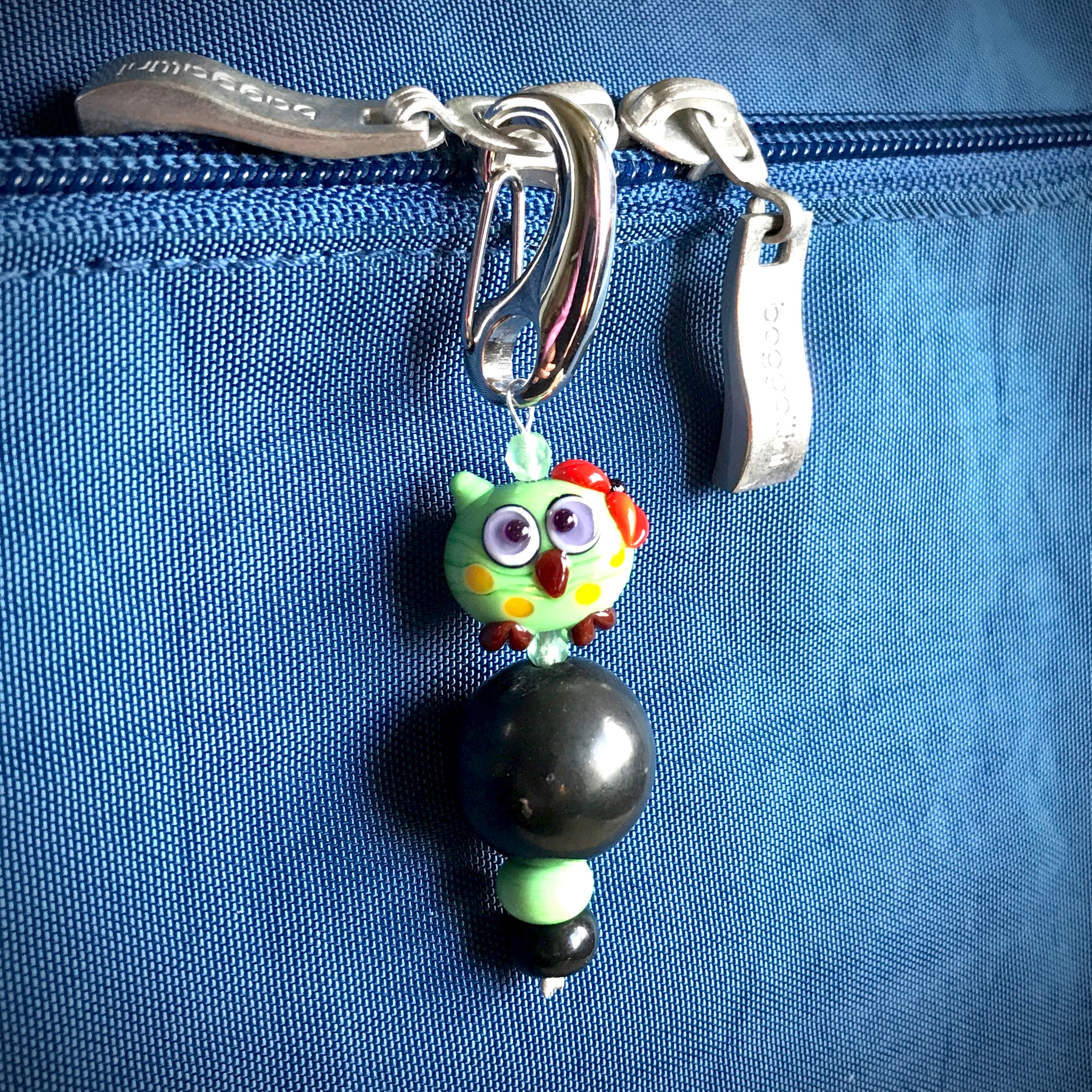 Shungite Clip-On Green Koala Bear Lampwork Glass Bead, EMF Kids