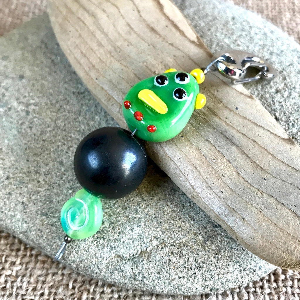Shungite Clip-On w/Green Monster Lampwork Bead, EMF for Kids