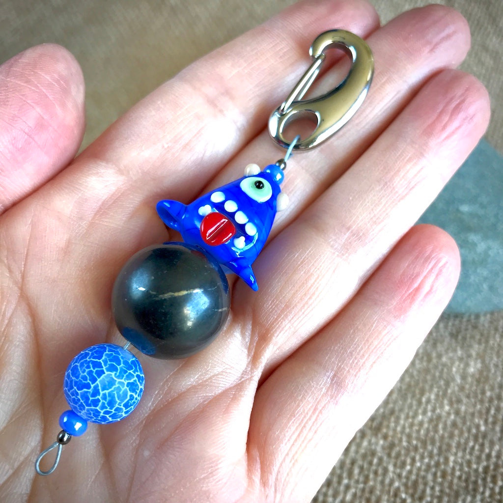 Shungite Clip-On w/One-Eyed Blue Monster Lampwork Glass Bead, Kids EMF