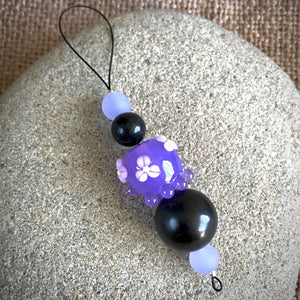 "Hangable EMF Accessory w/Shungite & Purple ""Squeedle"" Lampwork Bead"