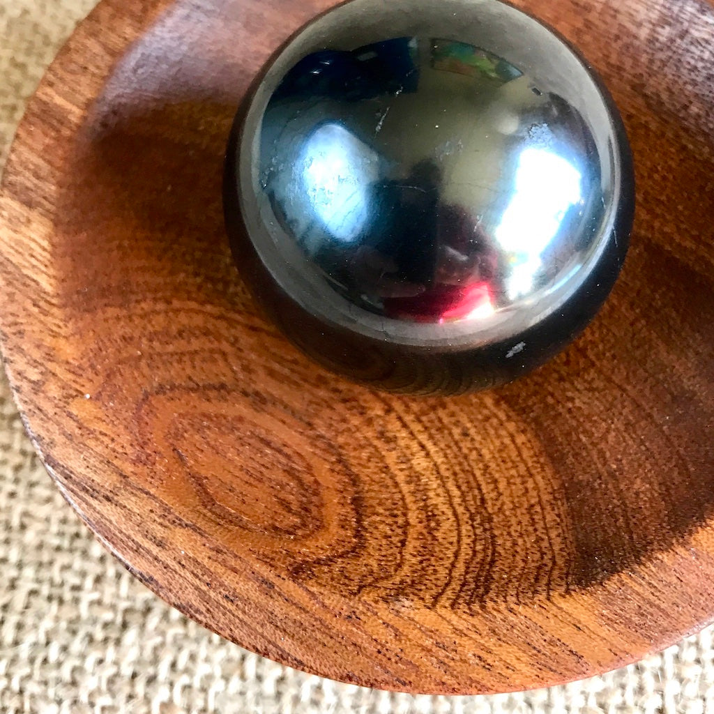 Shungite Sphere on Tumbled Rose Quartz in Custom Wood Bowl, EMF
