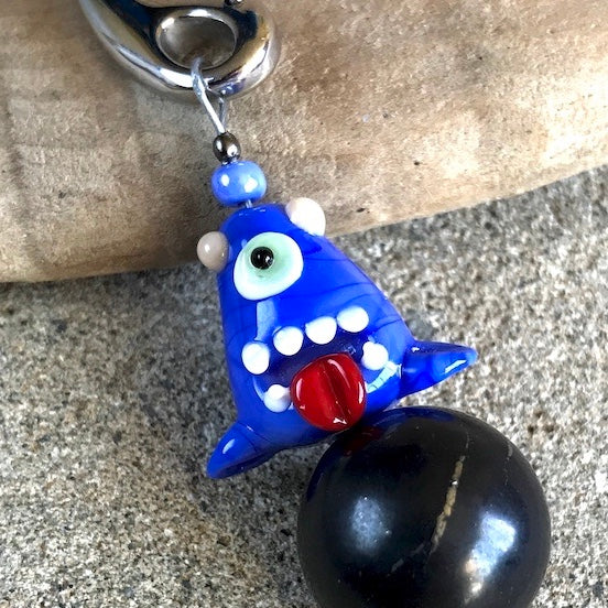 Shungite Clip-On w/One-Eyed BlueMonster Lampwork Glass Bead, Kids EMF