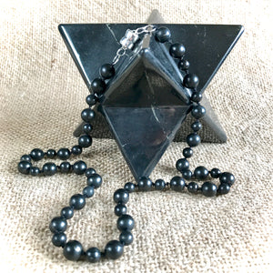 Short Beaded Black Shungite Necklace on Hand-Knotted Silk, EMF