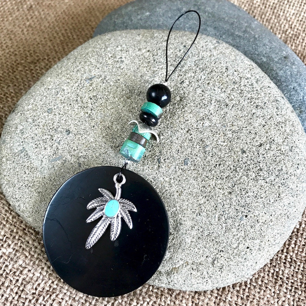 Hangable Shungite Accessory w/Turquoise & Sterling Marijuana Leaf