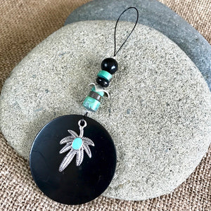 Hangable Shungite Accessory w/Turquoise & Sterling Silver Cannabis Leaf - Shungite Queen