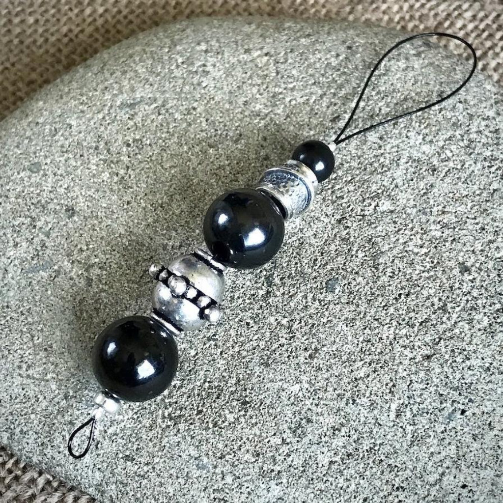 Hangable EMF Accessory w/Shungite & Pewter Beads, EMF Protection