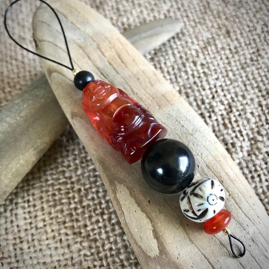 Hangable Shungite Accessory w/Carnelian Buddha & Bone Bead - Shungite Queen