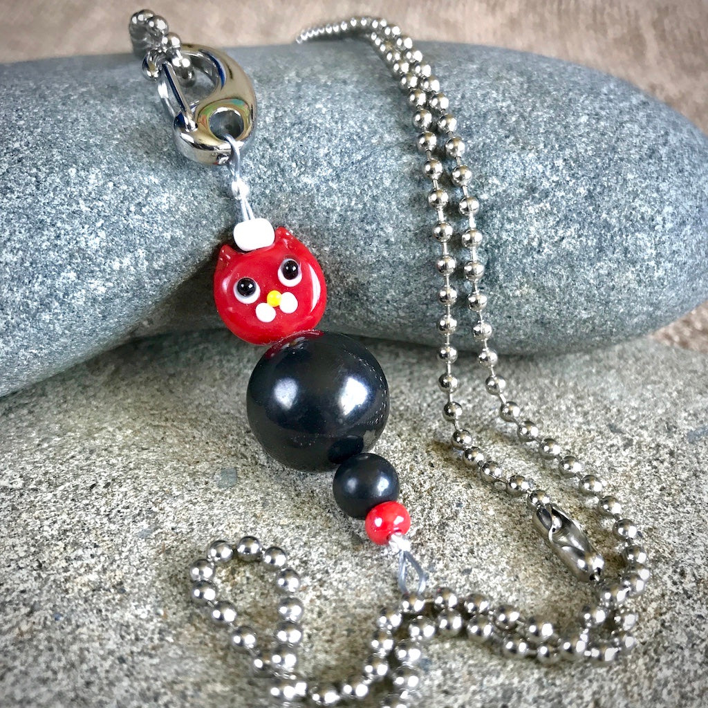 Red Cat Shungite Necklace on Silver Ball Chain, Clip-On EMF Accessory, Kids - Shungite Queen