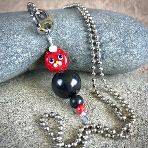 Red Cat Shungite Necklace on Silver Ball Chain, Clip-On, Kids