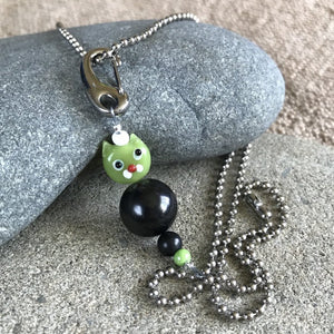 Green Cat Shungite Necklace on Silver Ball Chain, Clip-On, Kids