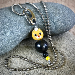 Yellow Cat Shungite Necklace on Silver Ball Chain, Clip-On, Kids