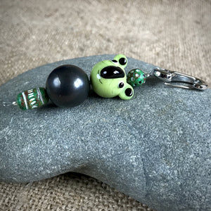 Shungite Clip-On Green Koala Bear Lampwork Glass Bead, EMF Kids - Shungite Queen