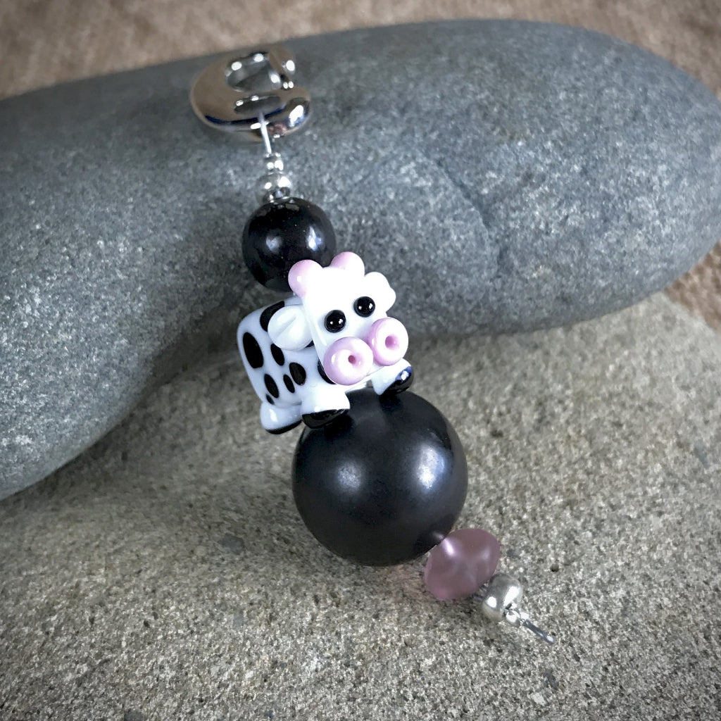 Shungite & Lampwork Glass Happy Cow Clip-On, EMF Protection for Kids - Shungite Queen