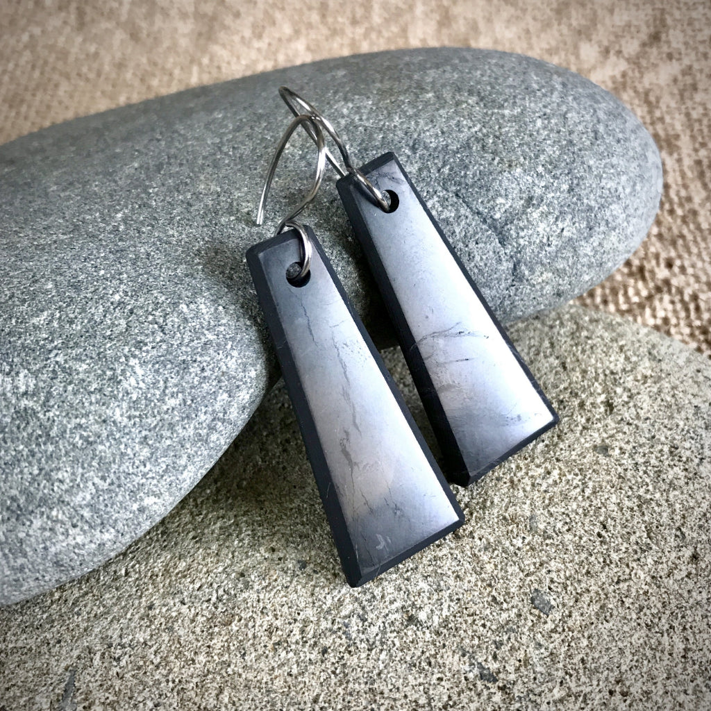 Shungite Earrings, Trapezoids, EMF Protection, Black, Titanium Ear Wires
