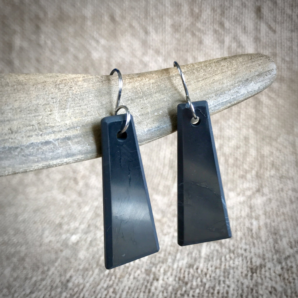 Shungite Earrings, Trapezoids, EMF Protection, Black, Titanium Ear Wires - Shungite Queen